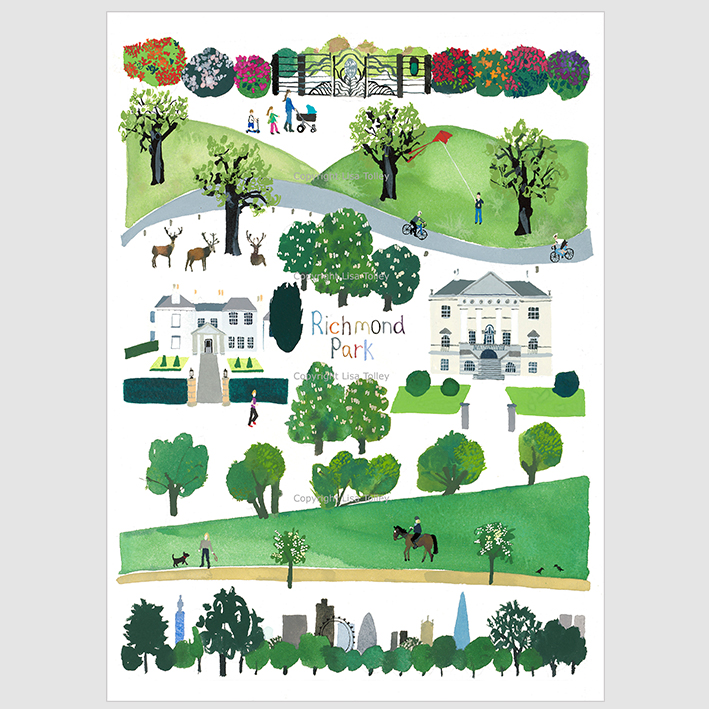 Richmond Park Fine Art Print Lisa Tolley Artist And Illustrator
